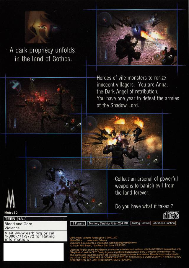 Dark Angel Vampire Apocalypse Sony Playstation 2 Game
