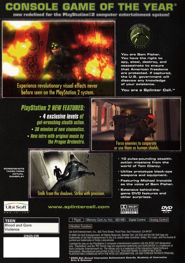 Splinter Cell Sony Playstation 2 Game