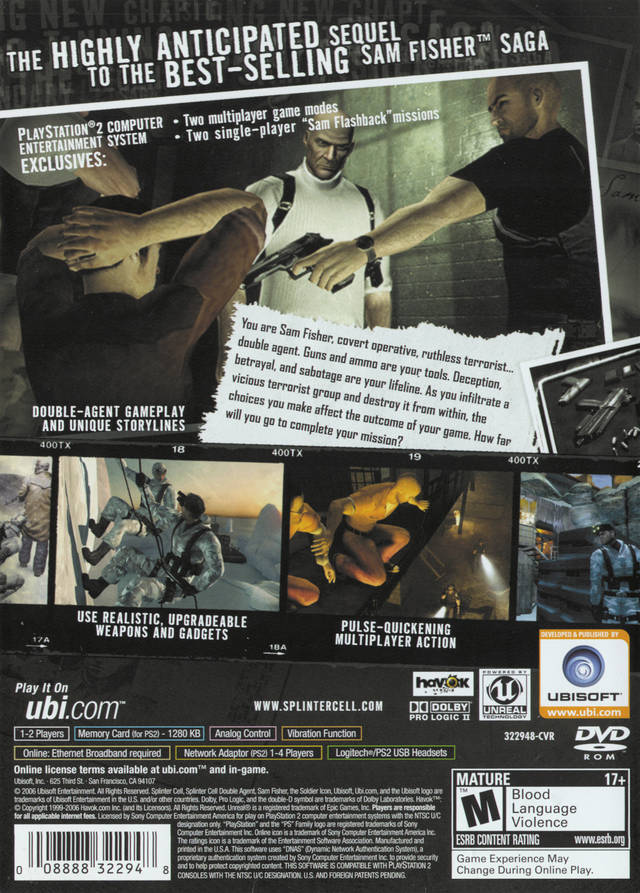 Splinter Cell Double Agent Sony Playstation 2 Game