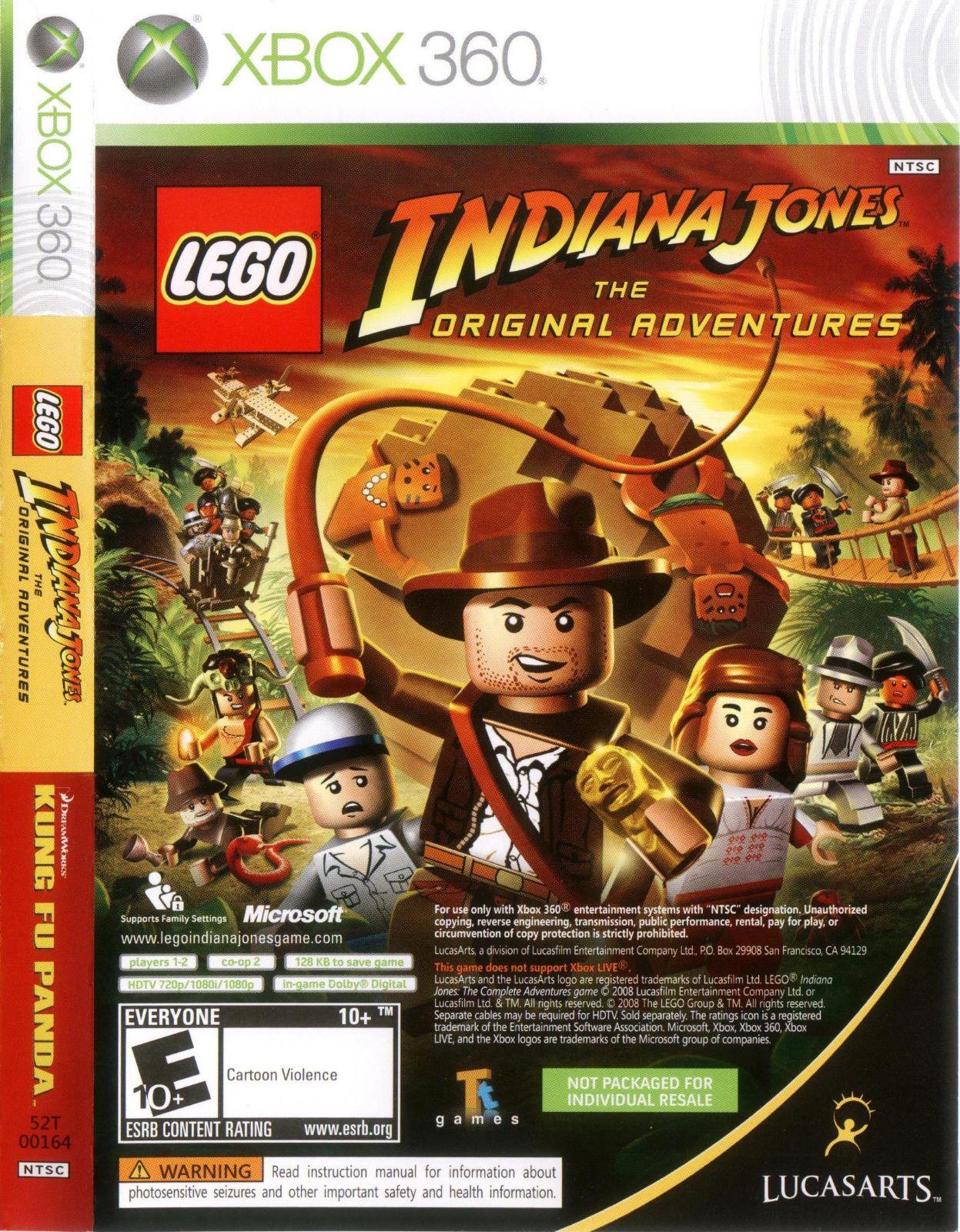 Lego Indiana Jones And Kung Fu Panda Combo Xbox 360 Game