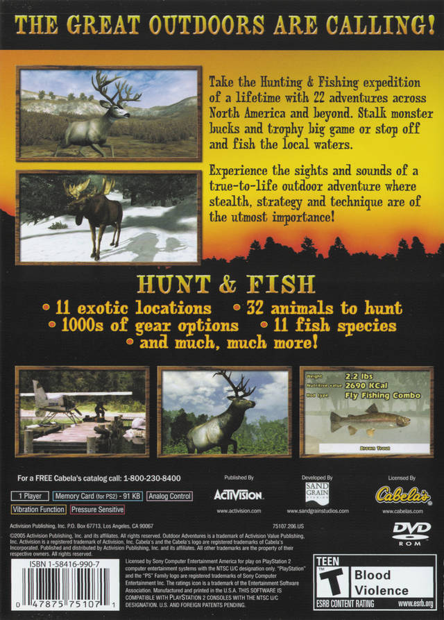 Cabela 39 S Outdoor Adventures Sony Playstation 2 Game