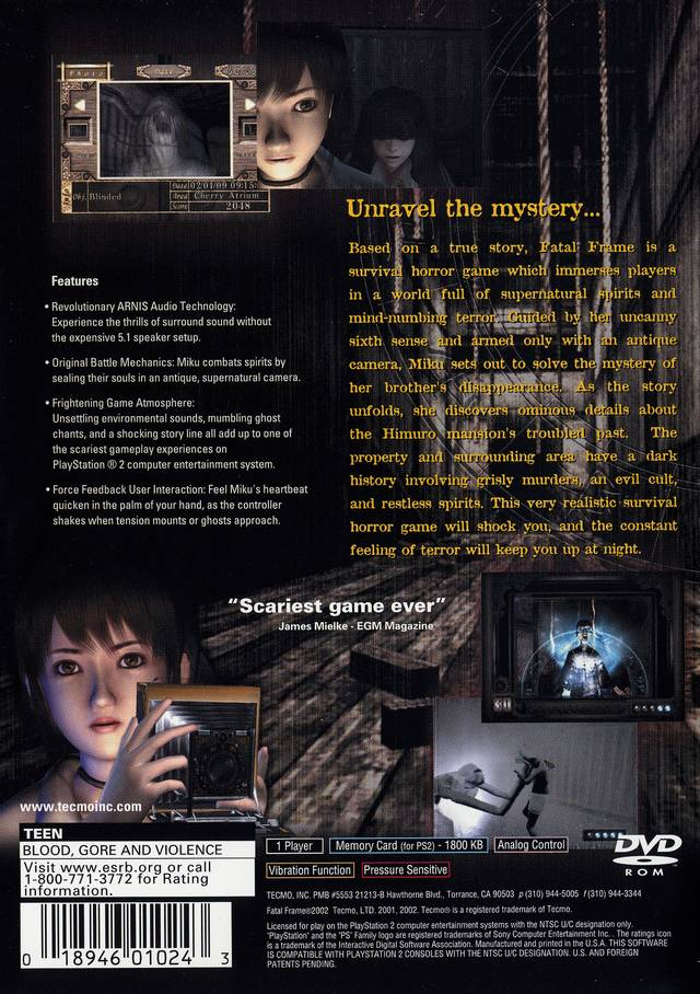 Fatal Frame Sony Playstation 2 Game