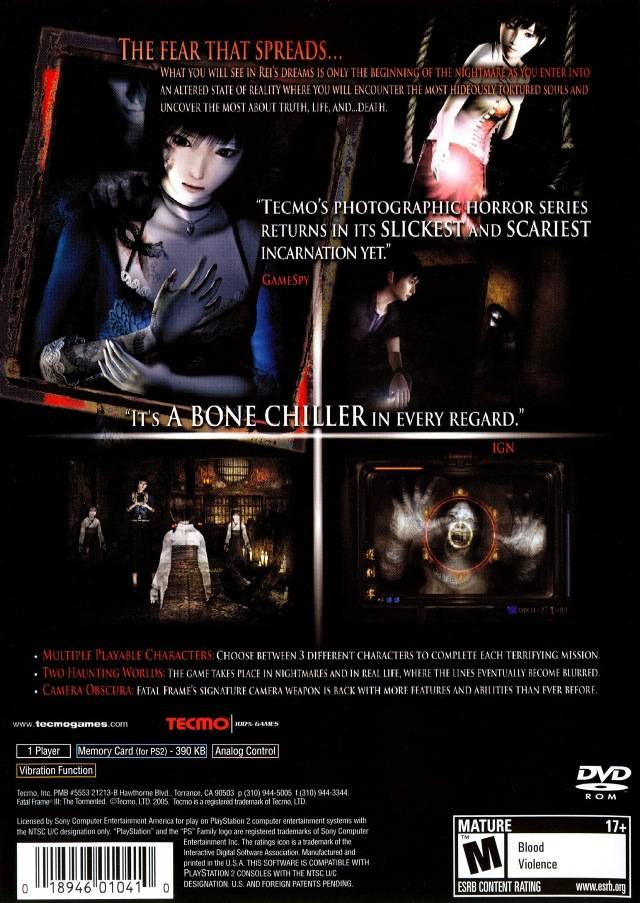Fatal Frame 3 Tormented Sony Playstation 2 Game