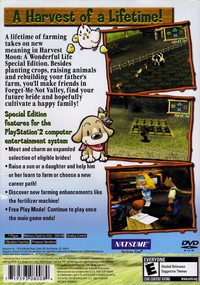 Harvest Moon A Wonderful Life Special Edition Sony Playstation 2 Game