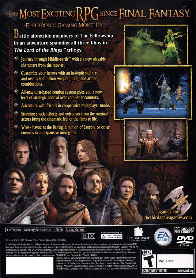 Lord Of The Rings Video Games Ps