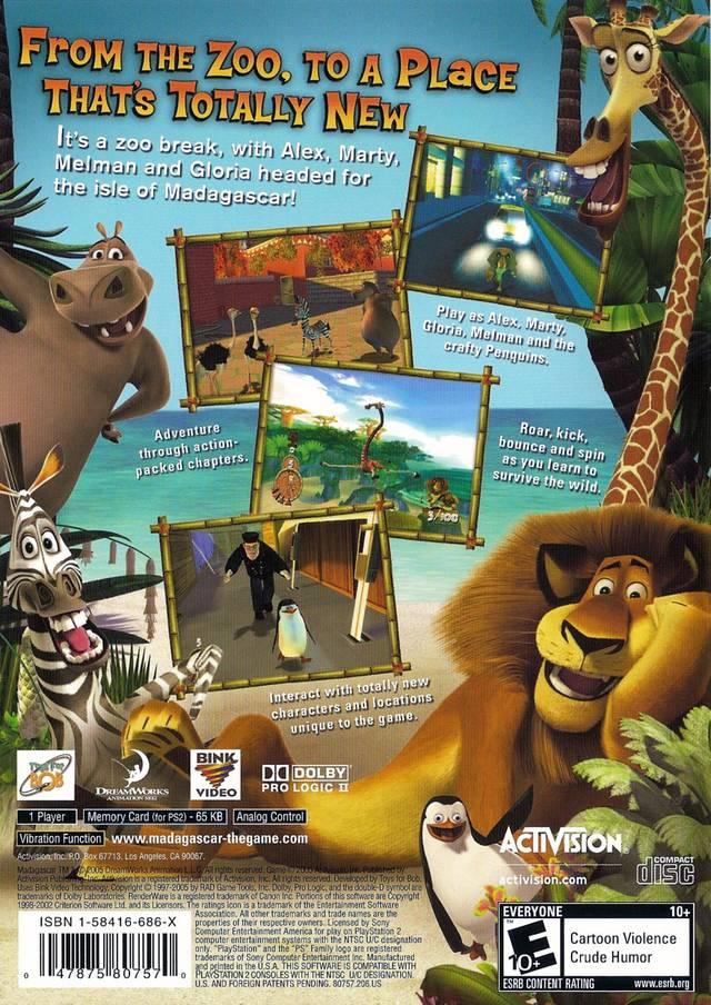 Madagascar Sony Playstation 2 Game