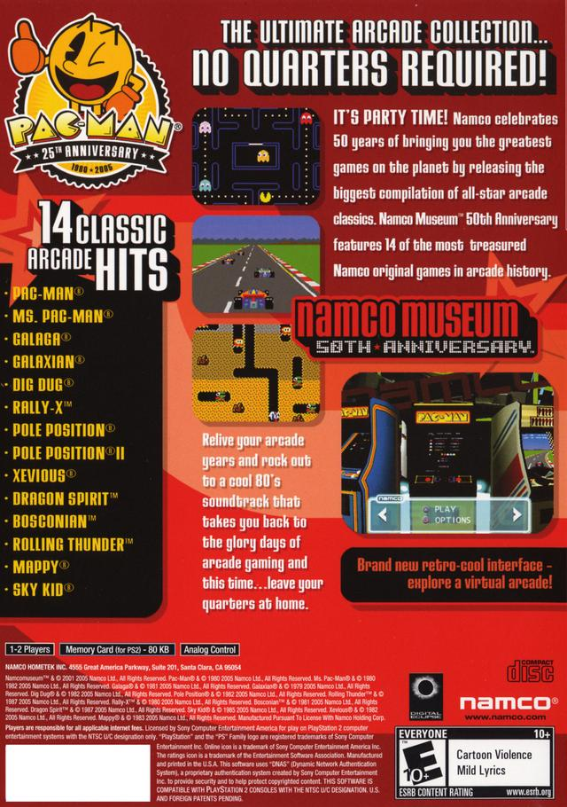 Pac Man Playstation >> Namco Museum 50th Anniversary Sony Playstation 2 Game