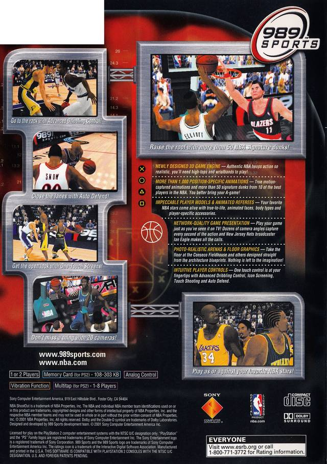 NBA ShootOut 2001 Sony Playstation 2 Game