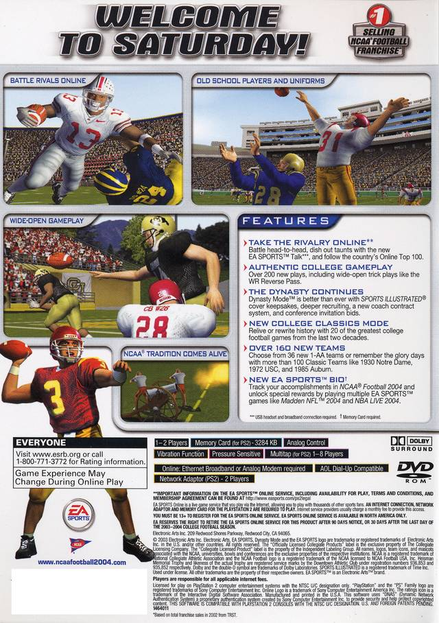NCAA Football 2004 Sony Playstation 2 Game