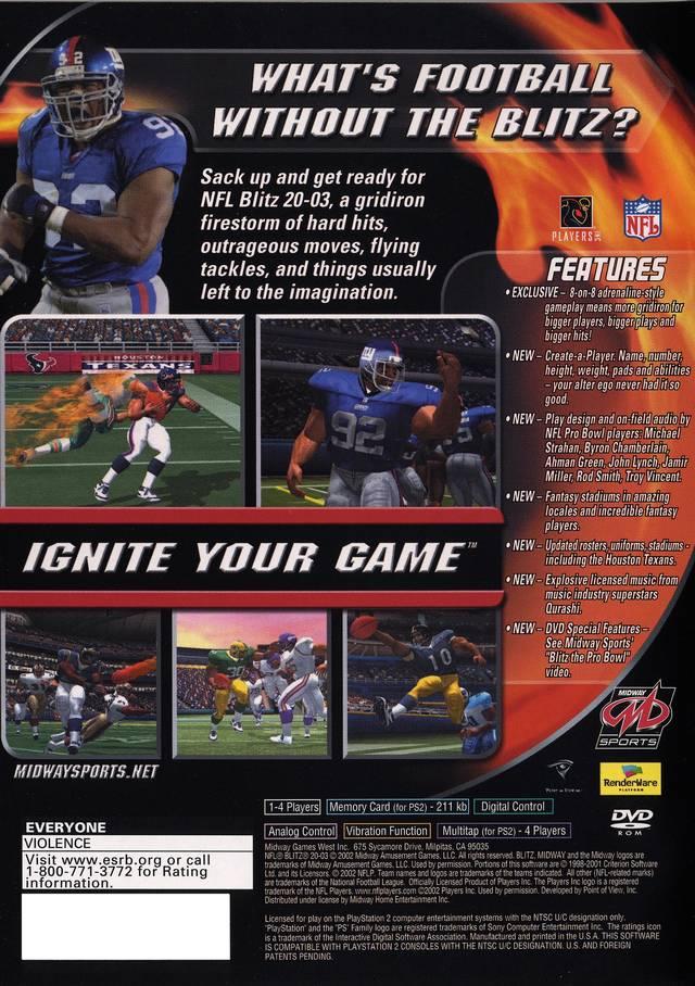 nfl blitz 2003 sony playstation 2 game