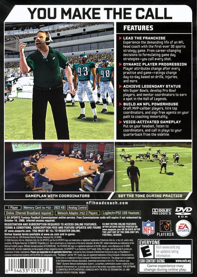 NFL Head Coach Sony Playstation 2 Game