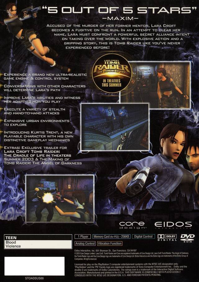 Tomb Raider Angel Of Darkness Sony Playstation 2 Game