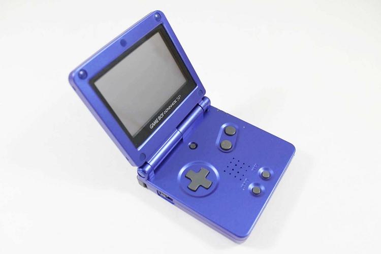 used cobalt blue game boy advance sp system