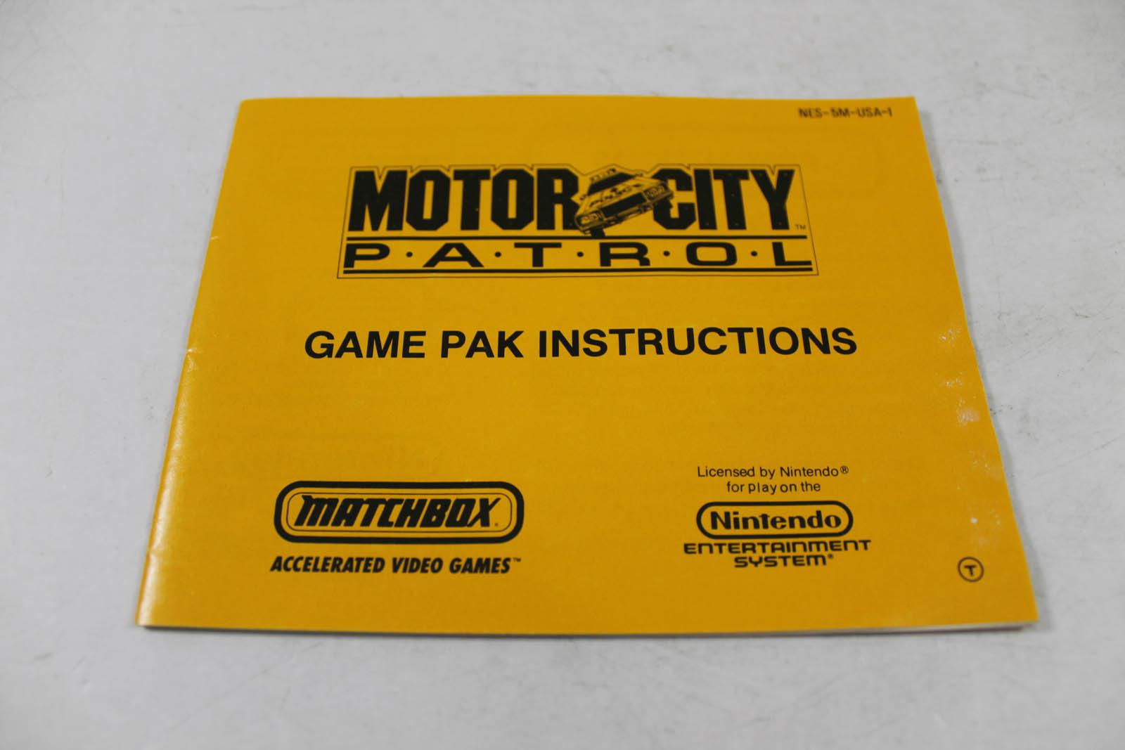 Manual motor city patrol rare nes nintendo.